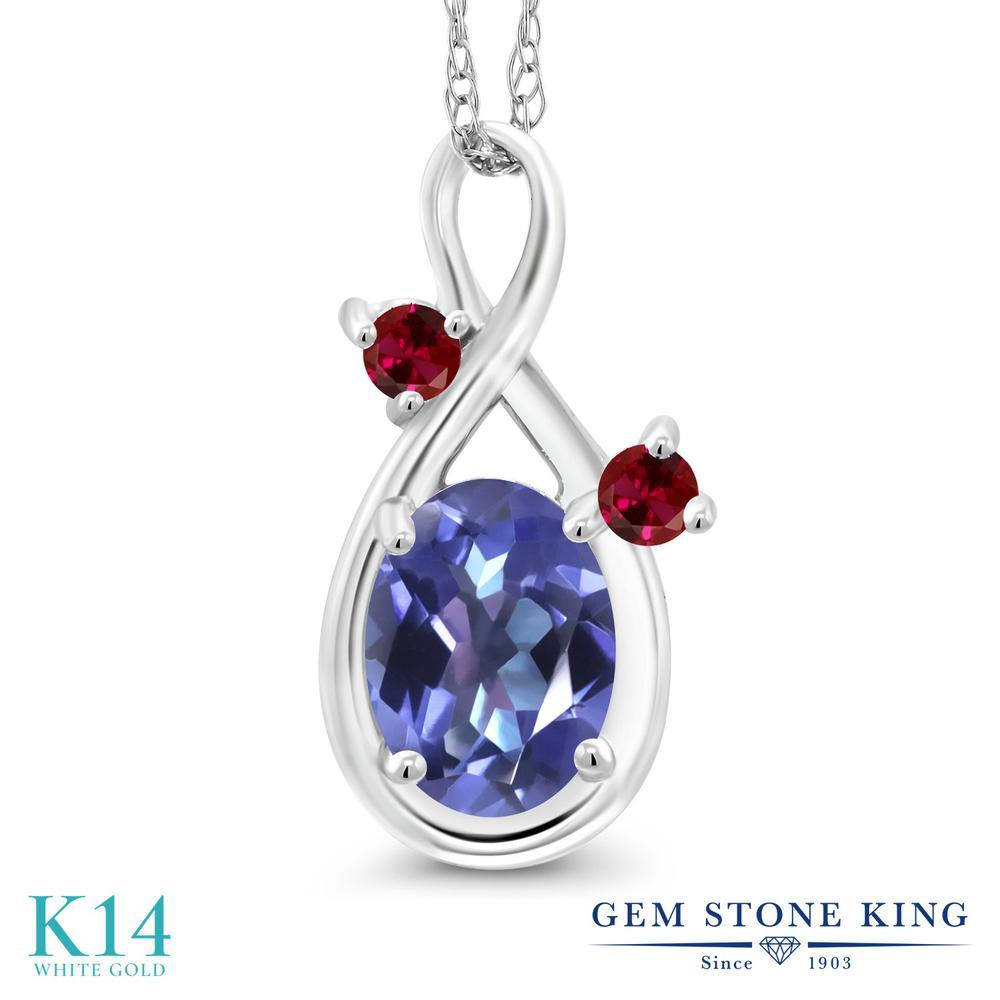 Gem Stone King 0.9カラット 天然 ミスティックトパーズ (タンザナイトブルー) 合成ルビー 14金 ホワイトゴールド(K14) ネックレス ペンダント レディース シンプル 天然石 金属アレルギー対応 誕生日プレゼント