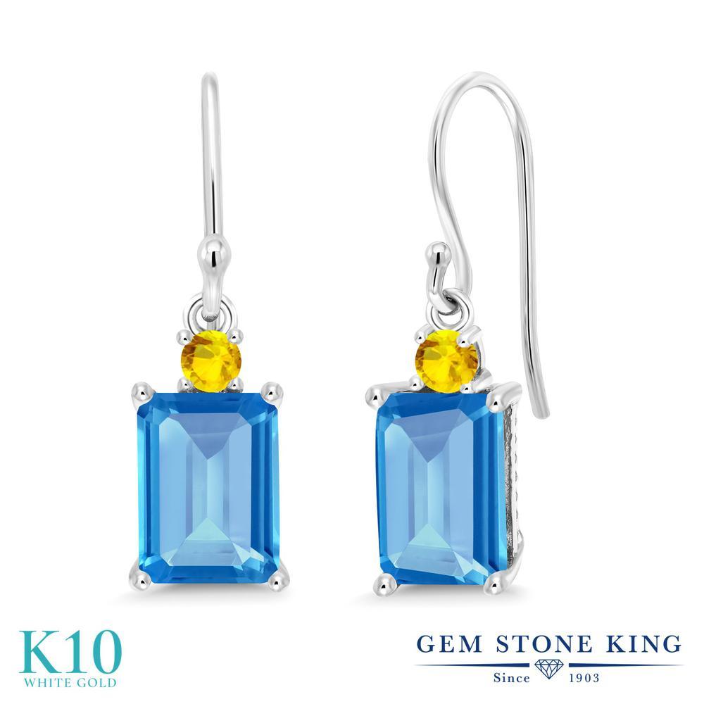 Gem Stone King 3.97カラット 天然 スイスブルートパーズ イエローサファイア 10金 ホワイトゴールド(K10) ピアス レディース 大粒 ぶら下がり フレンチワイヤー 天然石 11月 誕生石 金属アレルギー対応 誕生日プレゼント