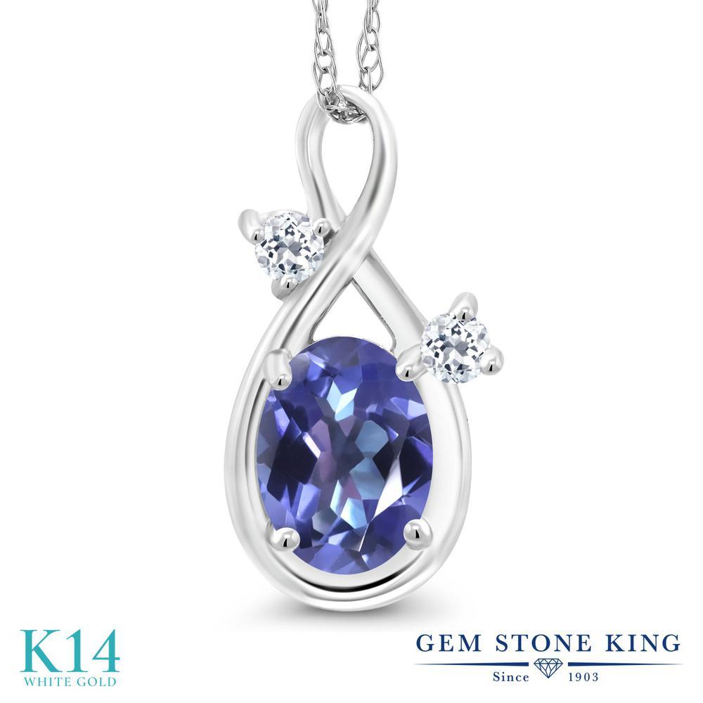 Gem Stone King 0.88カラット 天然 ミスティックトパーズ (タンザナイトブルー) 天然 トパーズ (無色透明) 14金 ホワイトゴールド(K14) ネックレス ペンダント レディース シンプル 天然石 金属アレルギー対応 誕生日プレゼント