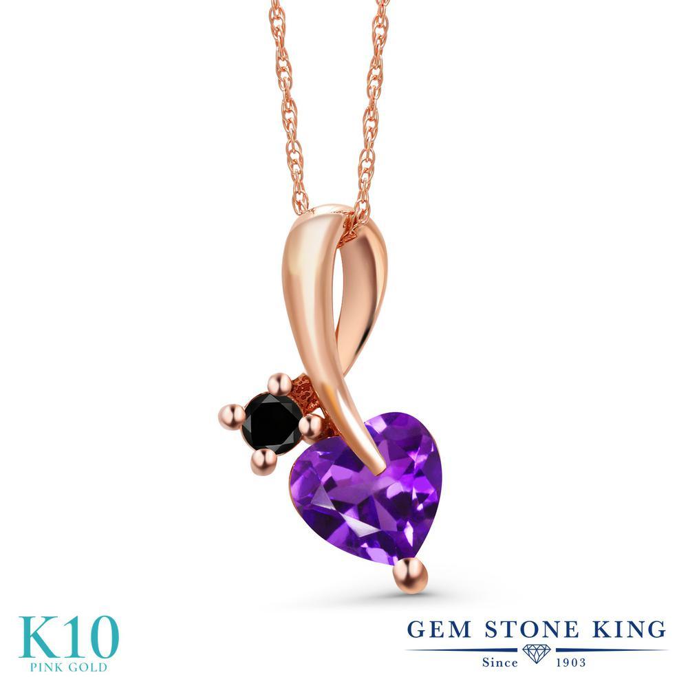 Gem Stone King 0.75カラット 天然 アメジスト 天然ブラックダイヤモンド 10金 ピンクゴールド(K10) ネックレス ペンダント レディース シンプル 天然石 2月 誕生石 金属アレルギー対応 誕生日プレゼント