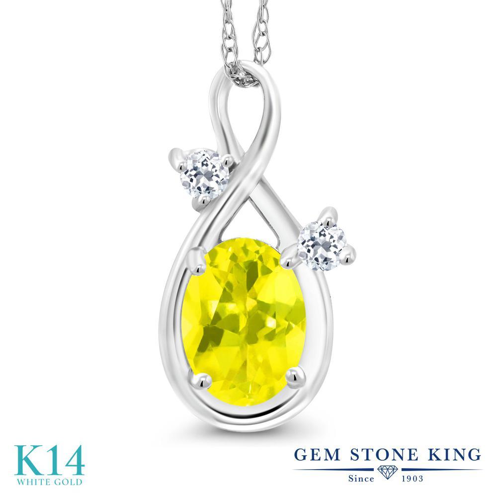 Gem Stone King 0.88カラット 天然石 ミスティックトパーズ (イエロー) 天然 トパーズ (無色透明) 14金 ホワイトゴールド(K14) ネックレス ペンダント レディース シンプル 天然石 金属アレルギー対応 誕生日プレゼント