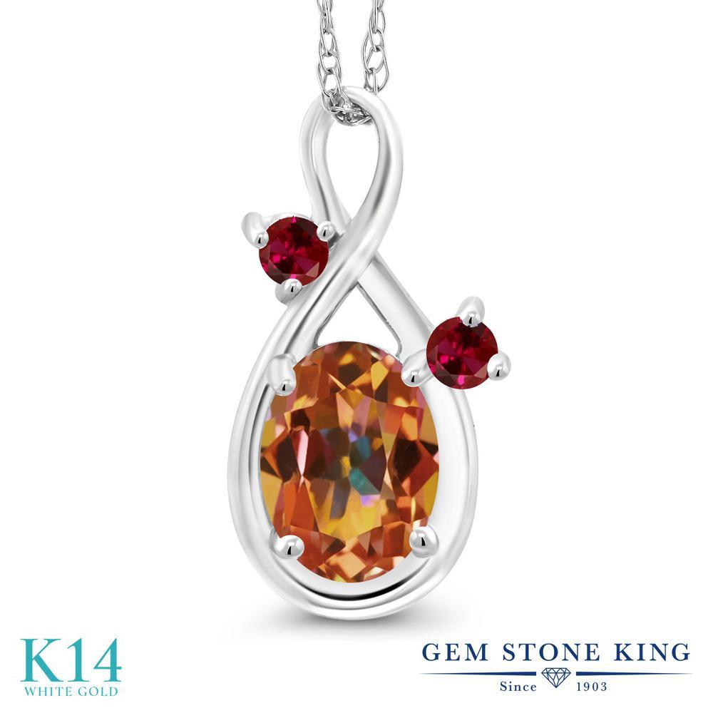 Gem Stone King 0.9カラット 天然石 エクスタシーミスティックトパーズ 合成ルビー 14金 ホワイトゴールド(K14) ネックレス ペンダント レディース シンプル 天然石 金属アレルギー対応 誕生日プレゼント