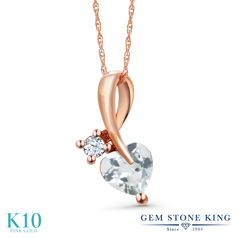 Gem Stone King 0.8カラット 天然 アクアマリン 合成ホワイトサファイア (ダイヤのような無色透明) 10金 ピンクゴールド(K10) ネックレス ペンダント レディース シンプル 天然石 3月 誕生石 金属アレルギー対応 誕生日プレゼント