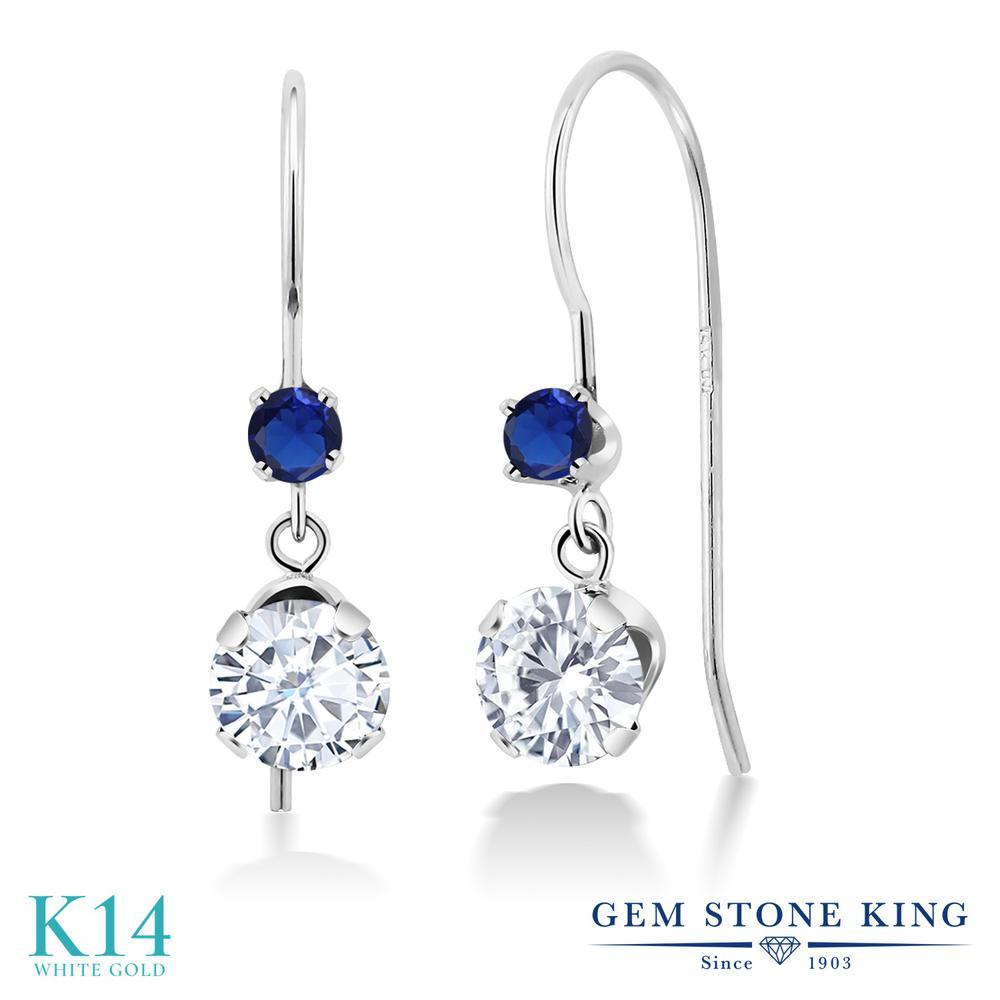 Gem Stone King 1.1カラット Forever Brilliant モアサナイト Charles & Colvard 14金 ホワイトゴールド(K14) ピアス レディース モアッサナイト 小粒 ぶら下がり アメリカン 揺れる 金属アレルギー対応 誕生日プレゼント