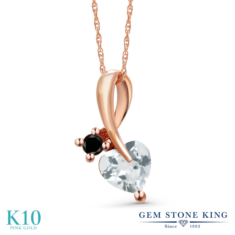 Gem Stone King 0.77カラット 天然 アクアマリン 天然ブラックダイヤモンド 10金 ピンクゴールド(K10) ネックレス ペンダント レディース シンプル 天然石 3月 誕生石 金属アレルギー対応 誕生日プレゼント