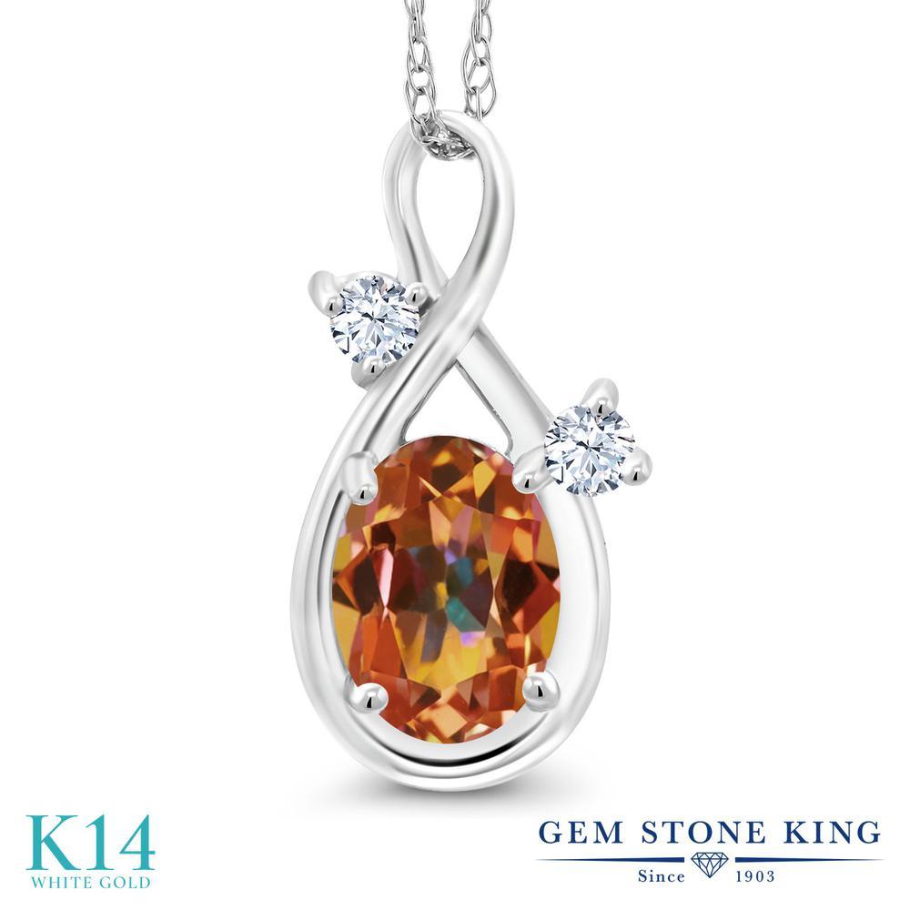Gem Stone King 0.88カラット 天然石 エクスタシーミスティックトパーズ 合成ホワイトサファイア (ダイヤのような無色透明) 14金 ホワイトゴールド(K14) ネックレス ペンダント レディース シンプル 天然石 金属アレルギー対応 誕生日プレゼント