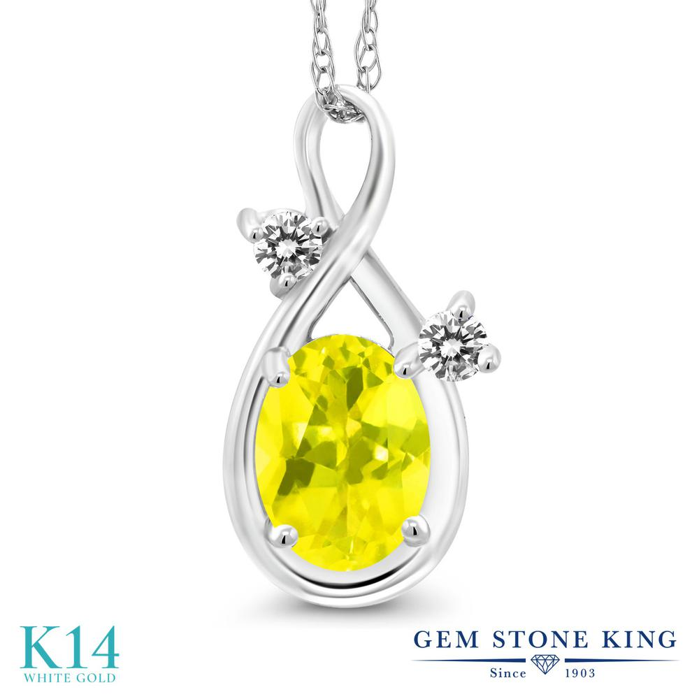 Gem Stone King 0.87カラット 天然石 ミスティックトパーズ (イエロー) 天然 ダイヤモンド 14金 ホワイトゴールド(K14) ネックレス ペンダント レディース シンプル 天然石 金属アレルギー対応 誕生日プレゼント