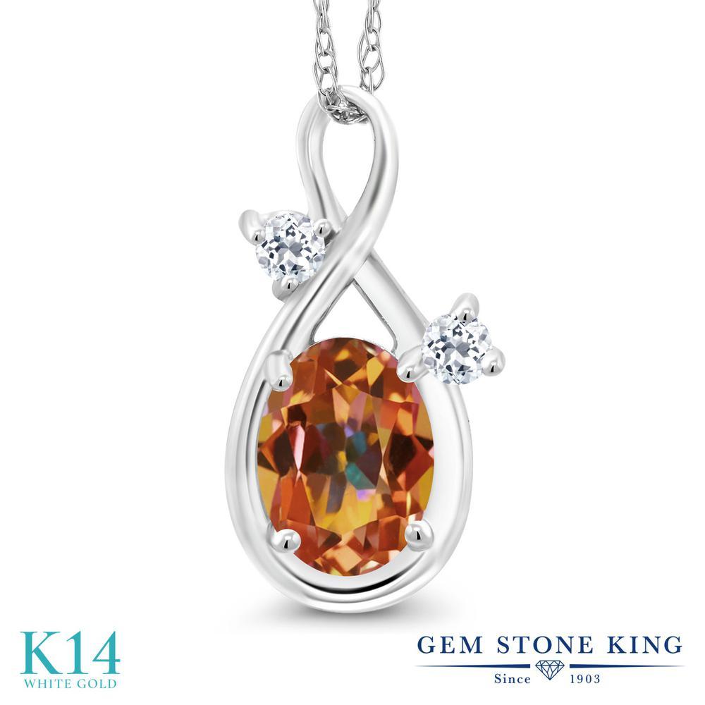 Gem Stone King 0.88カラット 天然石 エクスタシーミスティックトパーズ 天然 トパーズ (無色透明) 14金 ホワイトゴールド(K14) ネックレス ペンダント レディース シンプル 天然石 金属アレルギー対応 誕生日プレゼント