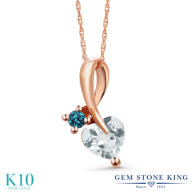 Gem Stone King 0.8カラット 天然 アクアマリン 天然 ロンドンブルートパーズ 10金 ピンクゴールド(K10) ネックレス ペンダント レディース シンプル 天然石 3月 誕生石 金属アレルギー対応 誕生日プレゼント