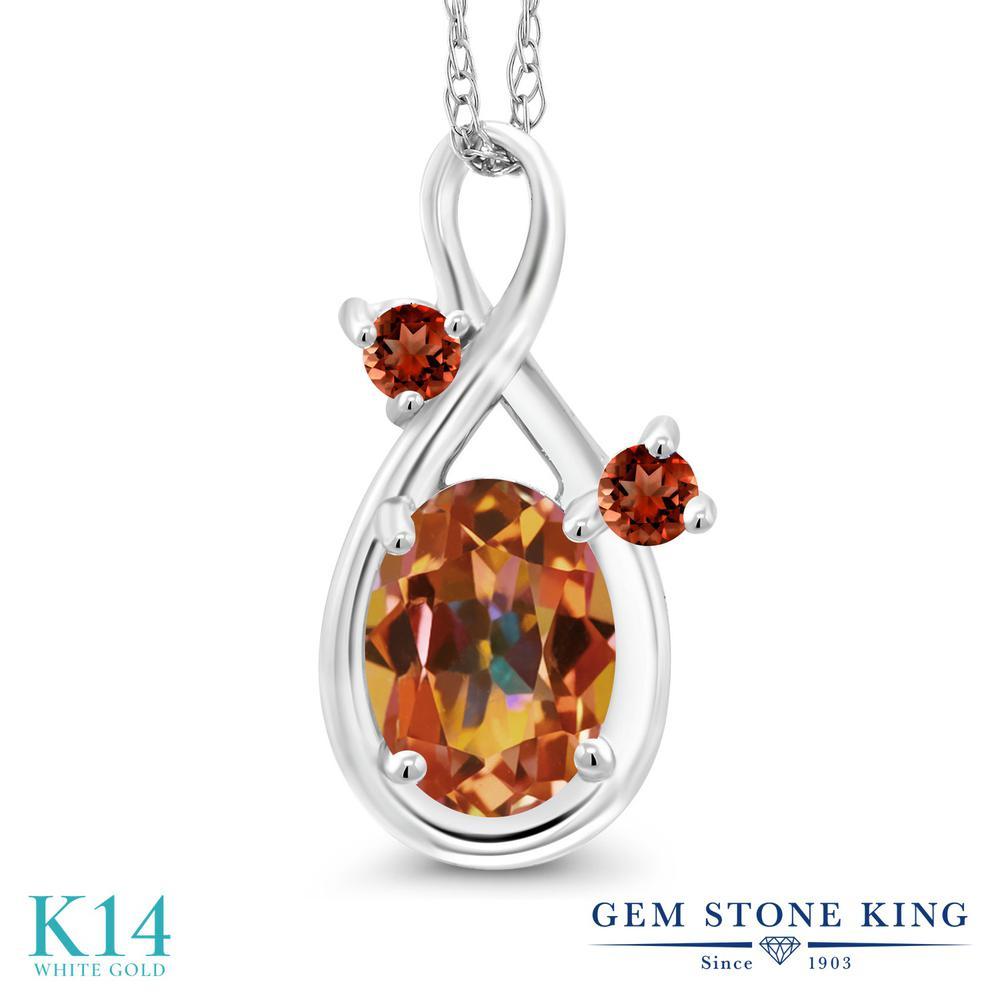 Gem Stone King 0.88カラット 天然石 エクスタシーミスティックトパーズ 天然 ガーネット 14金 ホワイトゴールド(K14) ネックレス ペンダント レディース シンプル 天然石 金属アレルギー対応 誕生日プレゼント