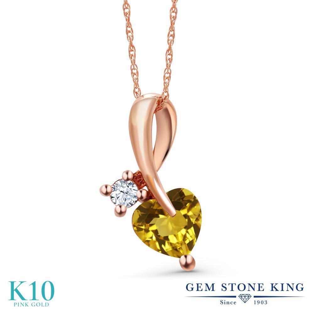 Gem Stone King 0.83カラット 天然 シトリン 合成ホワイトサファイア (ダイヤのような無色透明) 10金 ピンクゴールド(K10) ネックレス ペンダント レディース シンプル 天然石 11月 誕生石 金属アレルギー対応 誕生日プレゼント