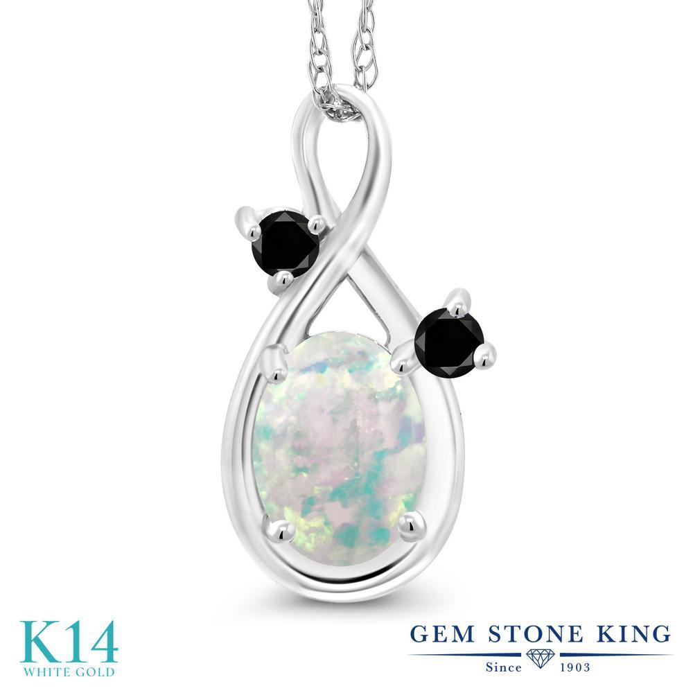 Gem Stone King 0.7カラット シミュレイテッド ホワイトオパール 天然ブラックダイヤモンド 14金 ホワイトゴールド(K14) ネックレス ペンダント レディース シンプル 10月 誕生石 金属アレルギー対応 誕生日プレゼント
