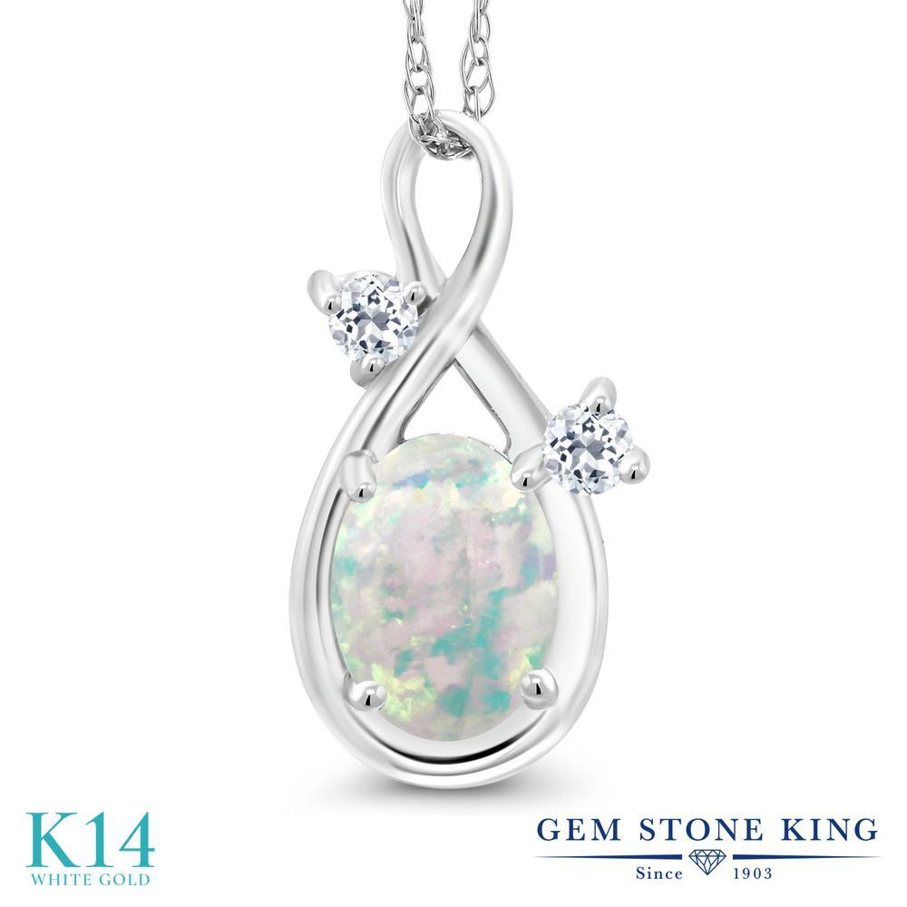 Gem Stone King 0.71カラット シミュレイテッド ホワイトオパール 天然 トパーズ (無色透明) 14金 ホワイトゴールド(K14) ネックレス ペンダント レディース シンプル 10月 誕生石 金属アレルギー対応 誕生日プレゼント