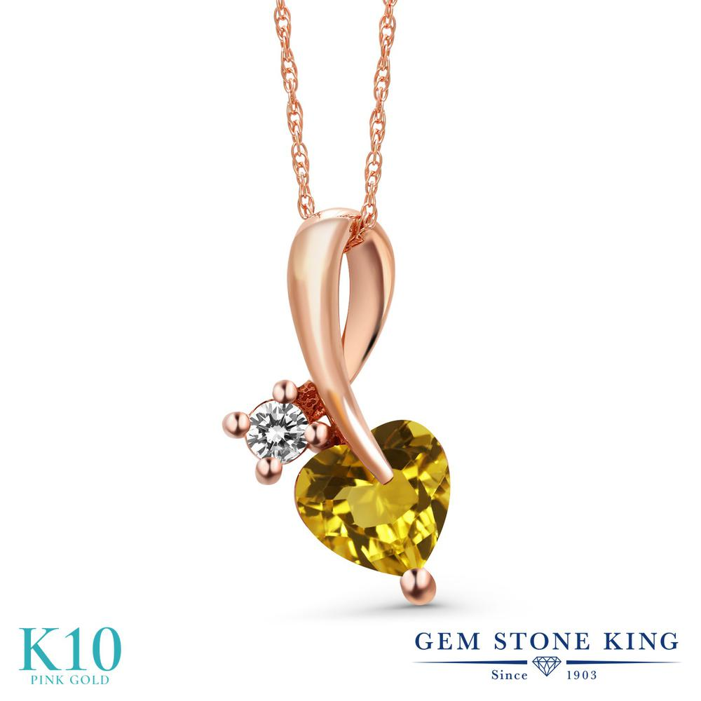 Gem Stone King 0.8カラット 天然 シトリン 天然 ダイヤモンド 10金 ピンクゴールド(K10) ネックレス ペンダント レディース シンプル 天然石 11月 誕生石 金属アレルギー対応 誕生日プレゼント
