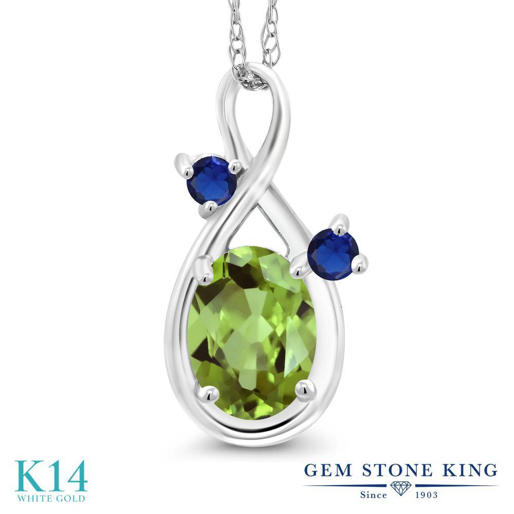 Gem Stone King 0.89カラット 天然石 ペリドット 14金 ホワイトゴールド(K14) ネックレス ペンダント レディース シンプル 天然石 8月 誕生石 金属アレルギー対応 誕生日プレゼント
