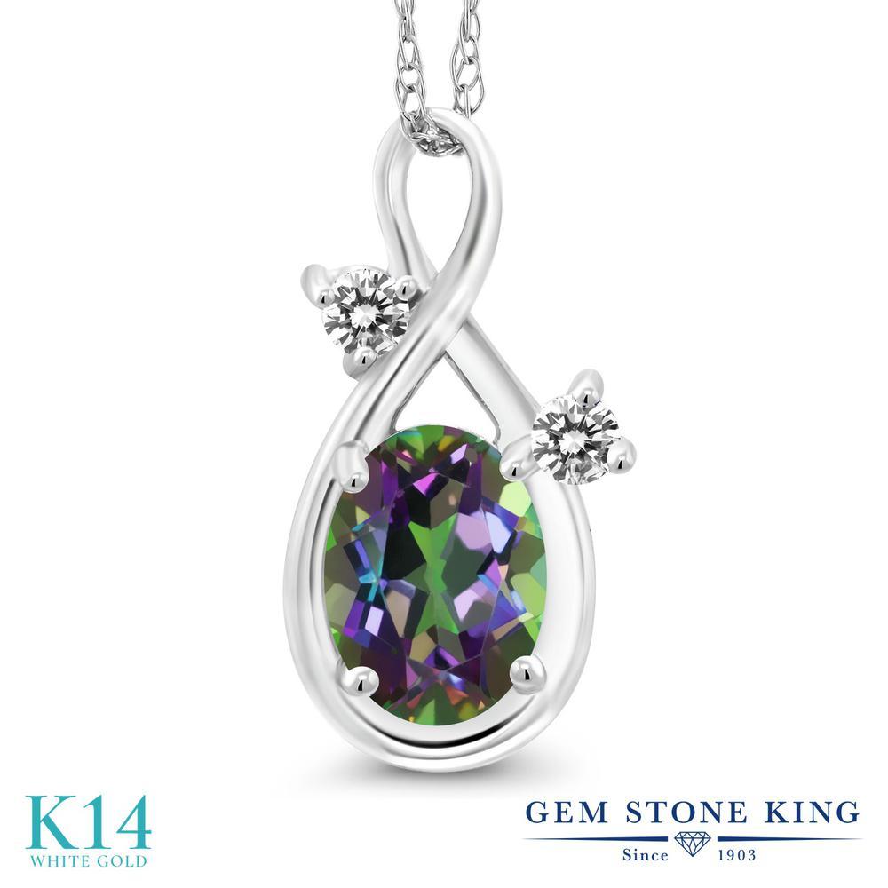 Gem Stone King 0.87カラット 天然石 ミスティックトパーズ (グリーン) 天然 ダイヤモンド 14金 ホワイトゴールド(K14) ネックレス ペンダント レディース シンプル 天然石 金属アレルギー対応 誕生日プレゼント