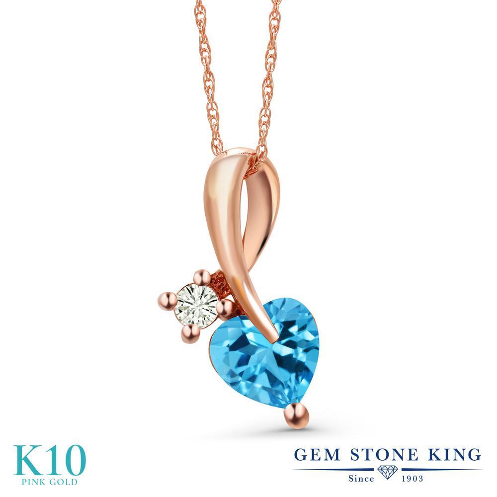 Gem Stone King 1.05カラット 天然 スイスブルートパーズ モアサナイト Charles & Colvard 10金 ピンクゴールド(K10) ネックレス ペンダント レディース シンプル 天然石 11月 誕生石 金属アレルギー対応 誕生日プレゼント