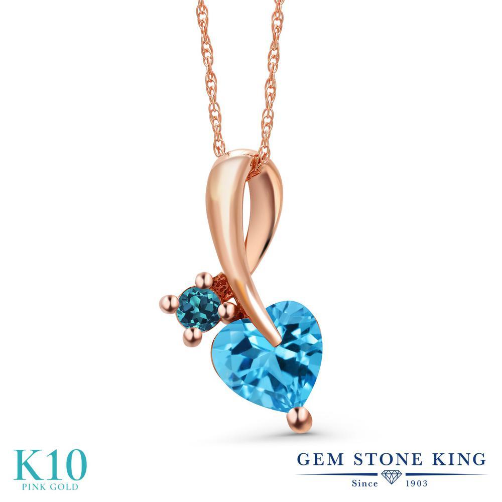 Gem Stone King 1.08カラット 天然 スイスブルートパーズ 天然 ロンドンブルートパーズ 10金 ピンクゴールド(K10) ネックレス ペンダント レディース シンプル 天然石 11月 誕生石 金属アレルギー対応 誕生日プレゼント