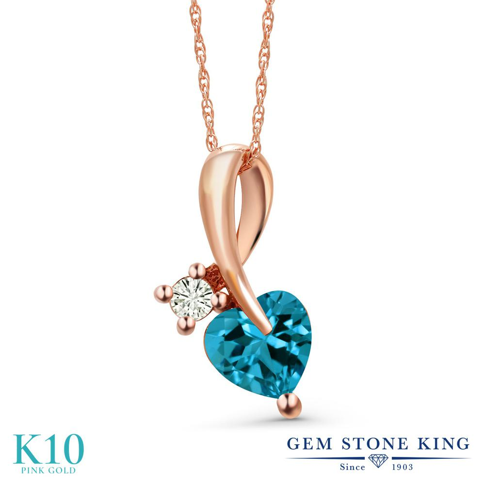 Gem Stone King 1.05カラット 天然 ロンドンブルートパーズ モアサナイト Charles & Colvard 10金 ピンクゴールド(K10) ネックレス ペンダント レディース シンプル 天然石 11月 誕生石 金属アレルギー対応 誕生日プレゼント