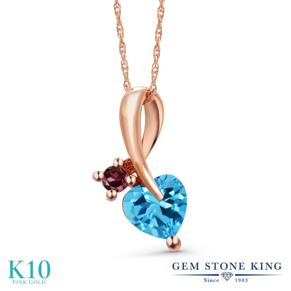 Gem Stone King 1.07カラット 天然 スイスブルートパーズ 天然 ロードライトガーネット 10金 ピンクゴールド(K10) ネックレス ペンダント レディース シンプル 天然石 11月 誕生石 金属アレルギー対応 誕生日プレゼント
