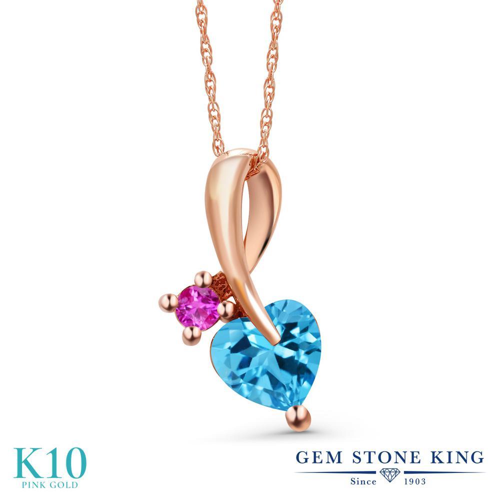 Gem Stone King 1.08カラット 天然 スイスブルートパーズ ピンクサファイア 10金 ピンクゴールド(K10) ネックレス ペンダント レディース シンプル 天然石 11月 誕生石 金属アレルギー対応 誕生日プレゼント
