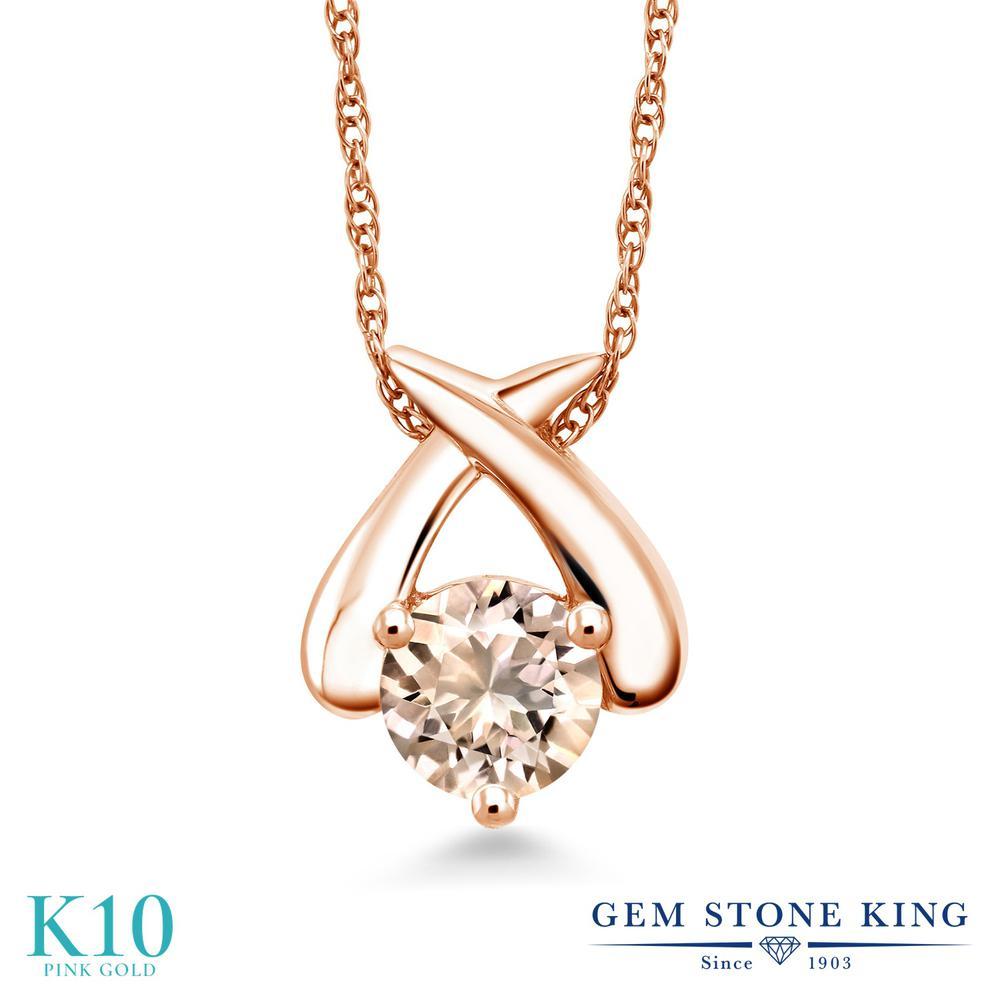 Gem Stone King 0.6カラット 天然 モルガナイト (ピーチ) 10金 ピンクゴールド(K10) ネックレス ペンダント レディース 一粒 シンプル 天然石 3月 誕生石 金属アレルギー対応 誕生日プレゼント