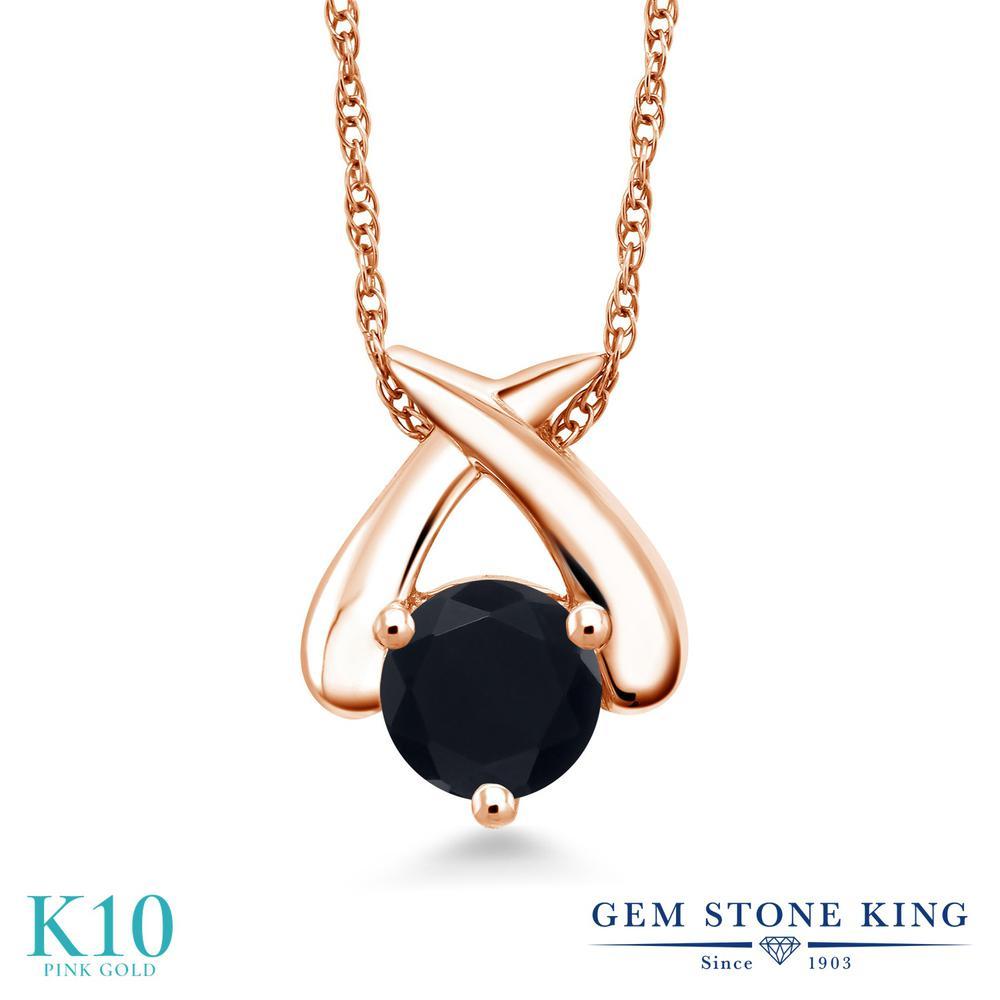 Gem Stone King 0.8カラット 天然 オニキス 10金 ピンクゴールド(K10) ネックレス ペンダント レディース 一粒 シンプル 天然石 8月 誕生石 金属アレルギー対応 誕生日プレゼント