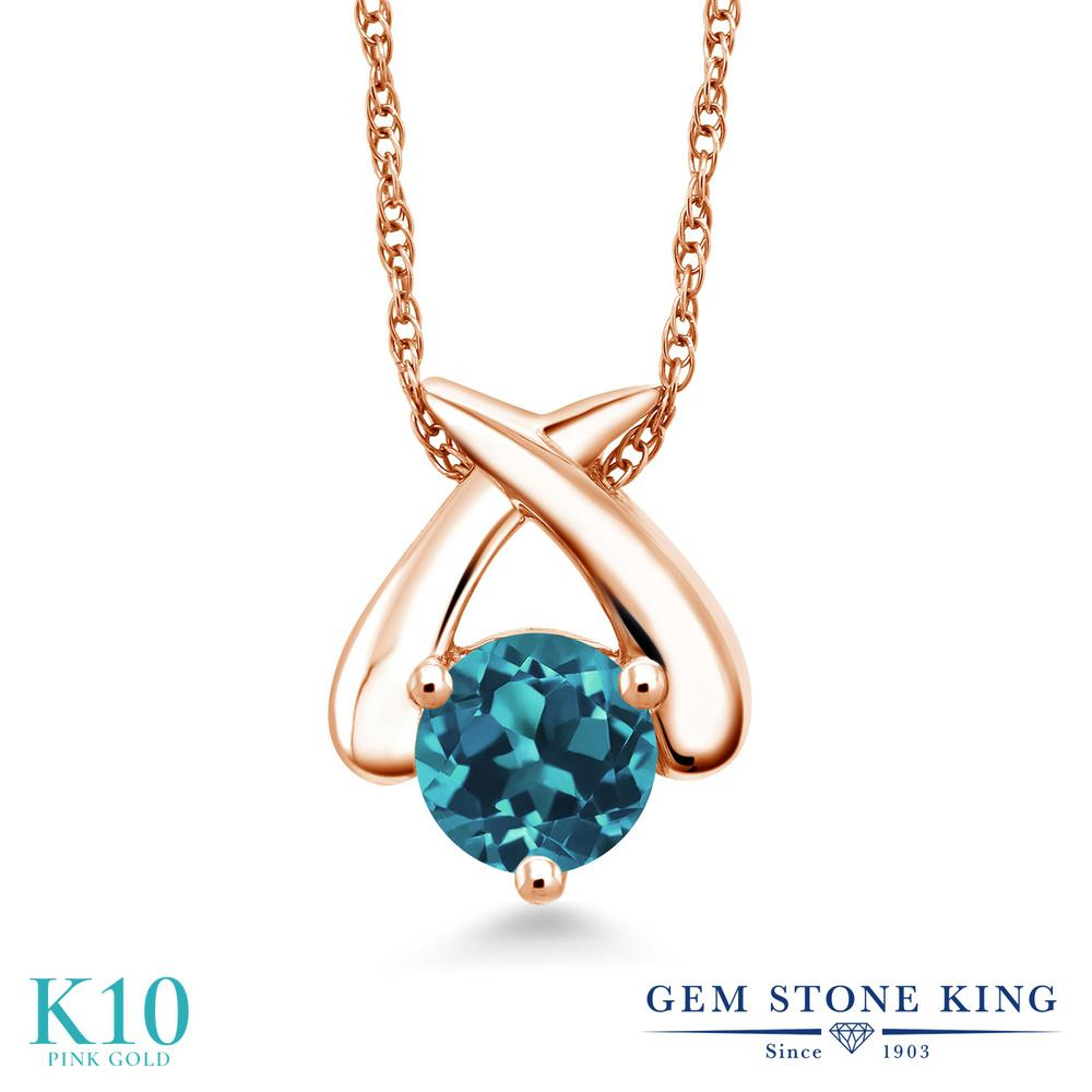 Gem Stone King 1.1カラット 天然 ロンドンブルートパーズ 10金 ピンクゴールド(K10) ネックレス ペンダント レディース 大粒 一粒 シンプル 天然石 11月 誕生石 金属アレルギー対応 誕生日プレゼント