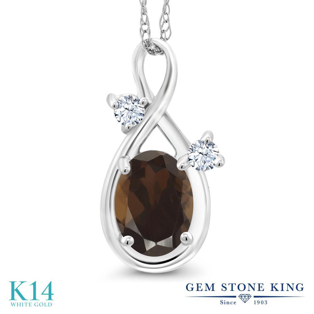 Gem Stone King 0.83カラット 天然 スモーキークォーツ (ブラウン) 合成ホワイトサファイア (ダイヤのような無色透明) 14金 ホワイトゴールド(K14) ネックレス ペンダント レディース シンプル 天然石 金属アレルギー対応 誕生日プレゼント