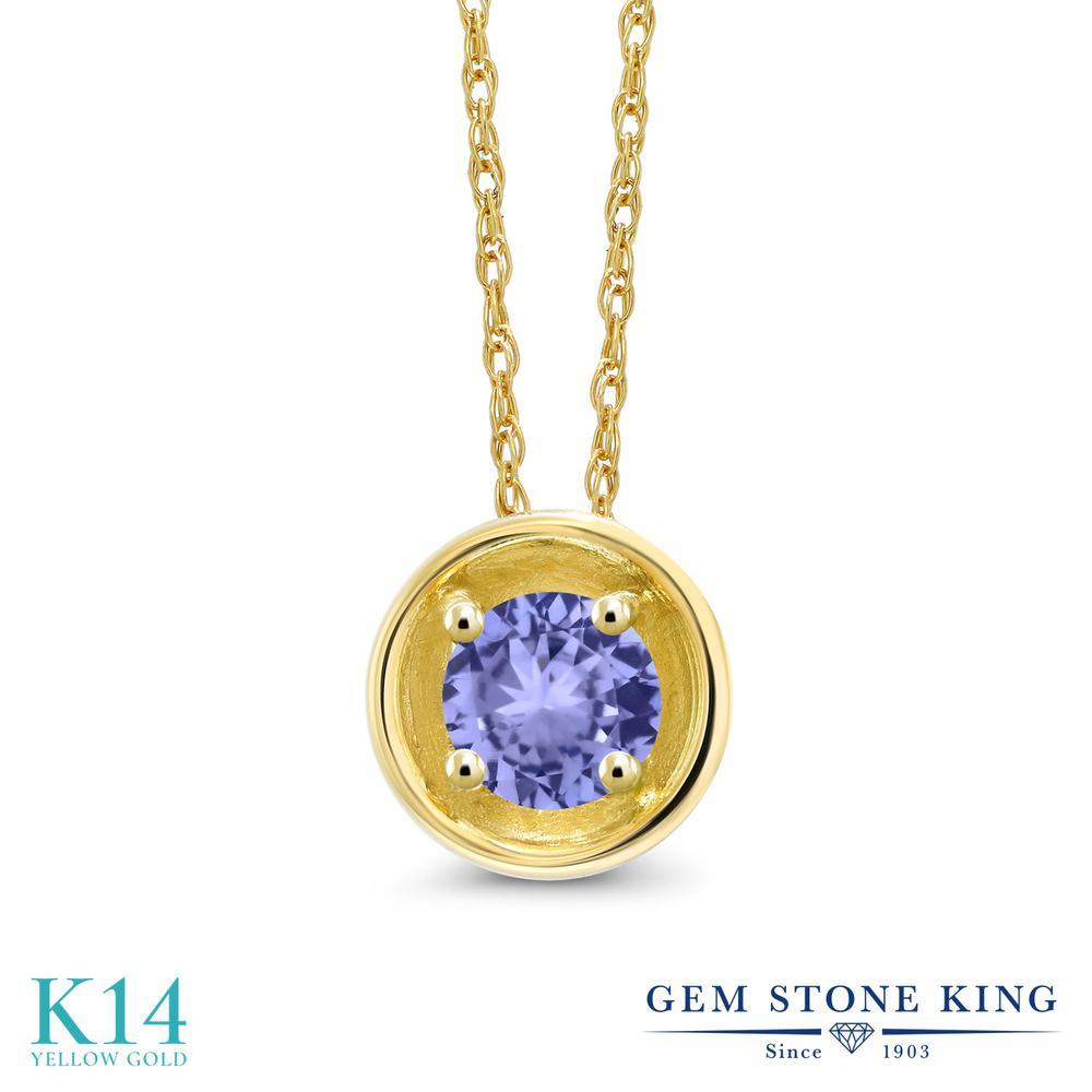 Gem Stone King 0.38カラット 天然石 タンザナイト 14金 イエローゴールド(K14) ネックレス ペンダント レディース 小粒 一粒 シンプル 天然石 12月 誕生石 金属アレルギー対応 誕生日プレゼント