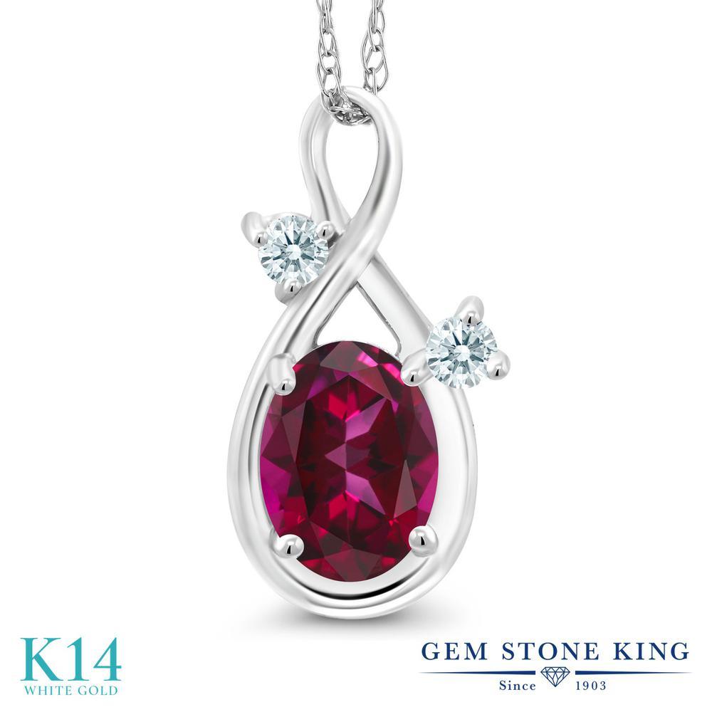 Gem Stone King 1.06カラット 天然石 レッドトパーズ (スワロフスキー 天然石シリーズ) 14金 ホワイトゴールド(K14) ネックレス ペンダント レディース 大粒 シンプル 天然石 金属アレルギー対応 誕生日プレゼント