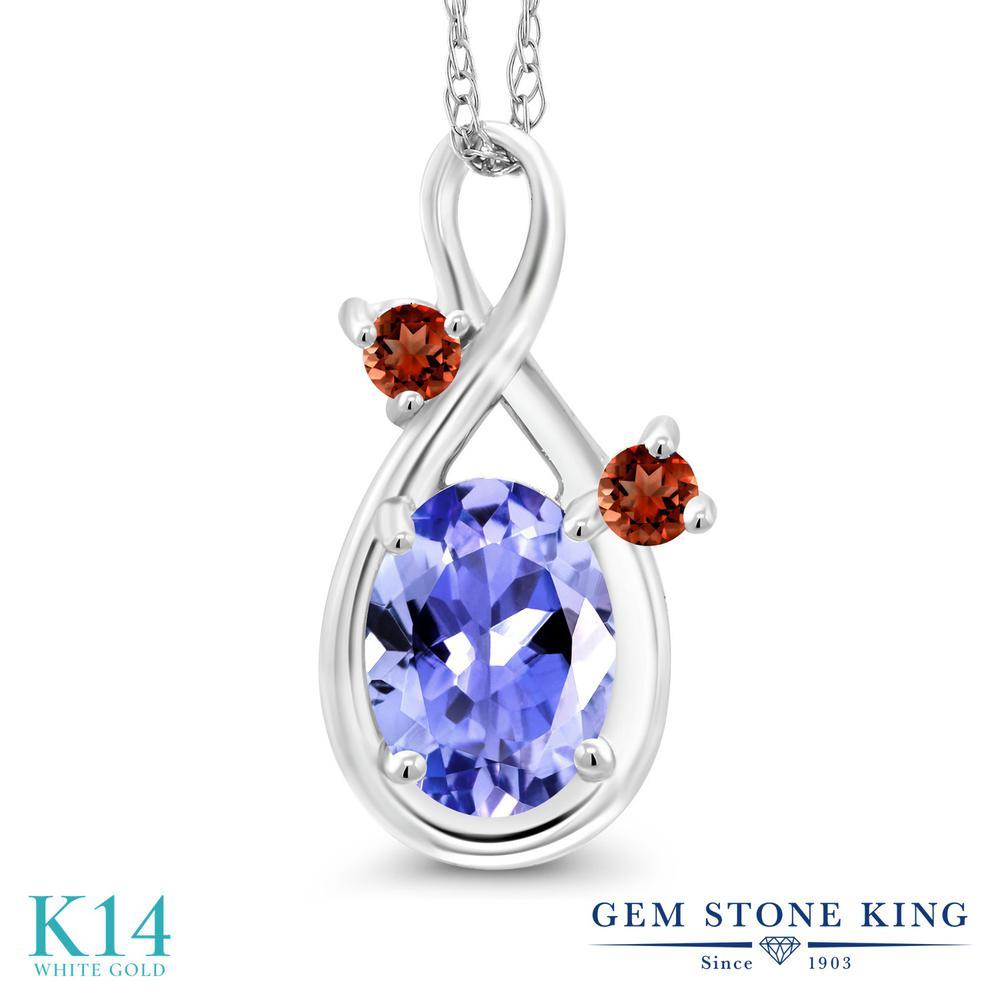 Gem Stone King 0.83カラット 天然石 タンザナイト 天然 ガーネット 14金 ホワイトゴールド(K14) ネックレス ペンダント レディース シンプル 天然石 12月 誕生石 金属アレルギー対応 誕生日プレゼント