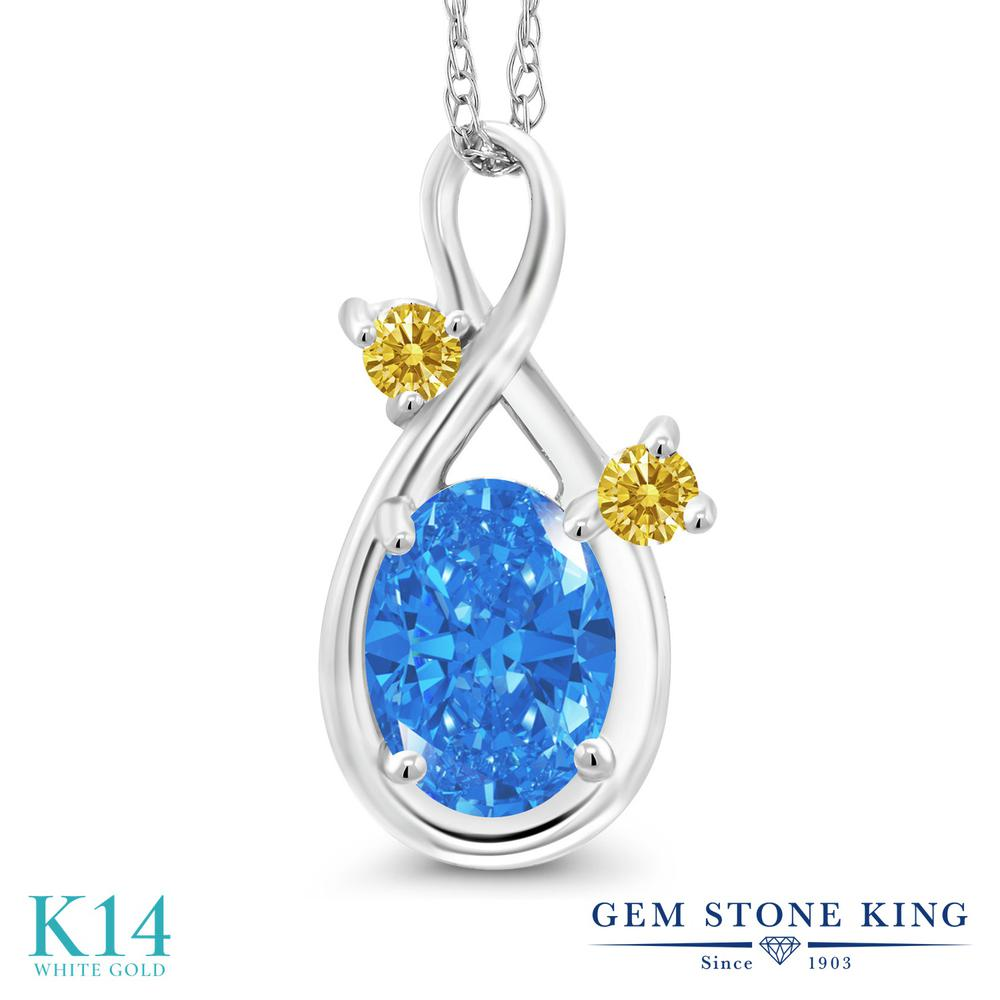 Gem Stone King 0.82カラット スワロフスキージルコニア (ファンシーブルー) 14金 ホワイトゴールド(K14) ネックレス ペンダント レディース CZ シンプル 金属アレルギー対応 誕生日プレゼント