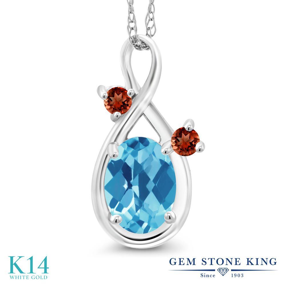 Gem Stone King 1.03カラット 天然 スイスブルートパーズ 天然 ガーネット 14金 ホワイトゴールド(K14) ネックレス ペンダント レディース シンプル 天然石 11月 誕生石 金属アレルギー対応 誕生日プレゼント