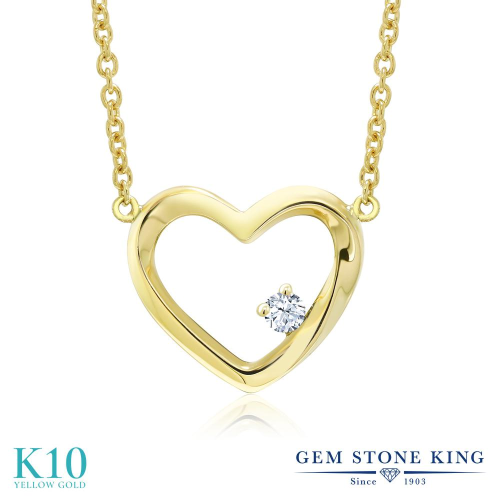 Gem Stone King ジルコニア (無色透明) 10金 イエローゴールド(K10) ネックレス レディース CZ 小粒 一粒 シンプル 金属アレルギー対応 誕生日プレゼント