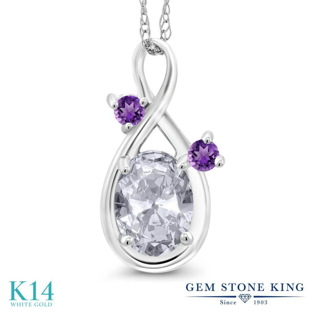 Gem Stone King 1.03カラット 天然 トパーズ (無色透明) 天然 アメジスト 14金 ホワイトゴールド(K14) ネックレス ペンダント レディース シンプル 天然石 11月 誕生石 金属アレルギー対応 誕生日プレゼント