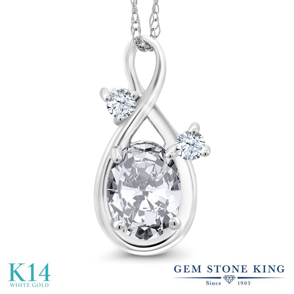 Gem Stone King 1.56カラット ジルコニア (無色透明) 14金 ホワイトゴールド(K14) ネックレス ペンダント レディース CZ 大粒 シンプル 金属アレルギー対応 誕生日プレゼント