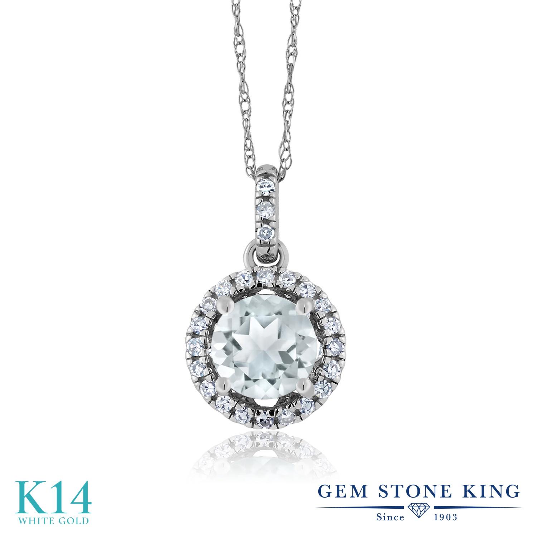 0.92カラット 天然 アクアマリン ネックレス レディース ペンダント ダイヤモンド 14金 ホワイトゴールド K14 ブランド おしゃれ 水色 天然石 3月 誕生石 プレゼント 女性 彼女 妻 誕生日