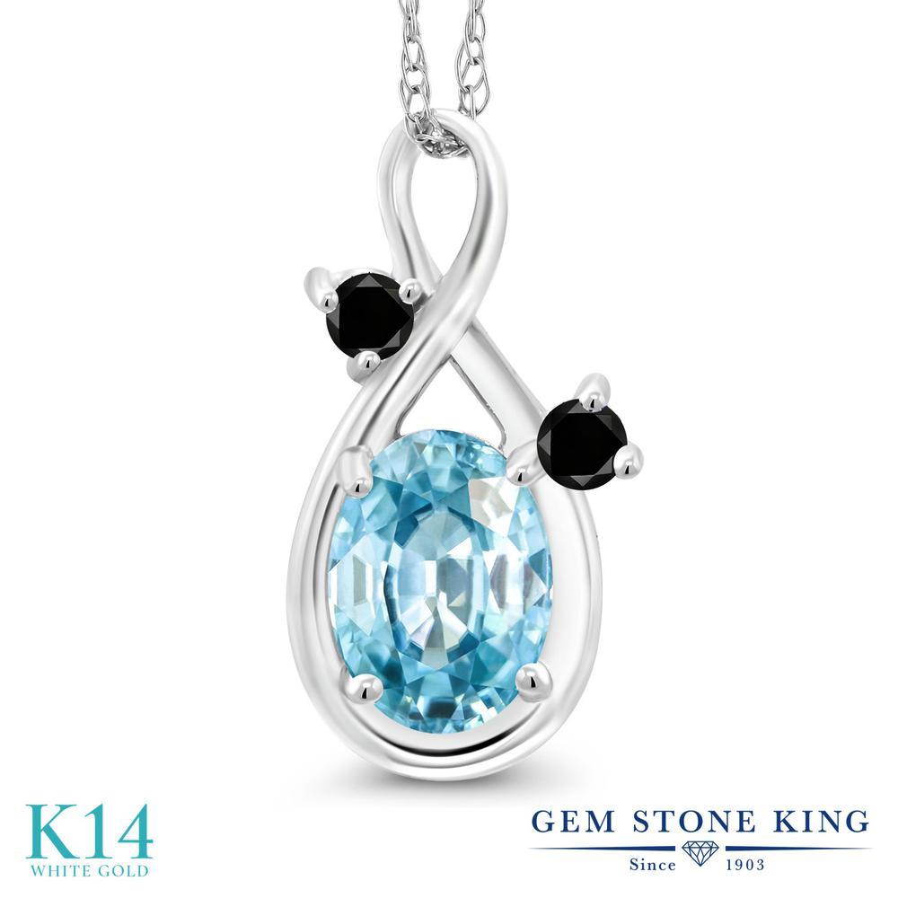 Gem Stone King 1.27カラット 天然石 ブルージルコン 天然ブラックダイヤモンド 14金 ホワイトゴールド(K14) ネックレス ペンダント レディース 大粒 シンプル 天然石 12月 誕生石 金属アレルギー対応 誕生日プレゼント
