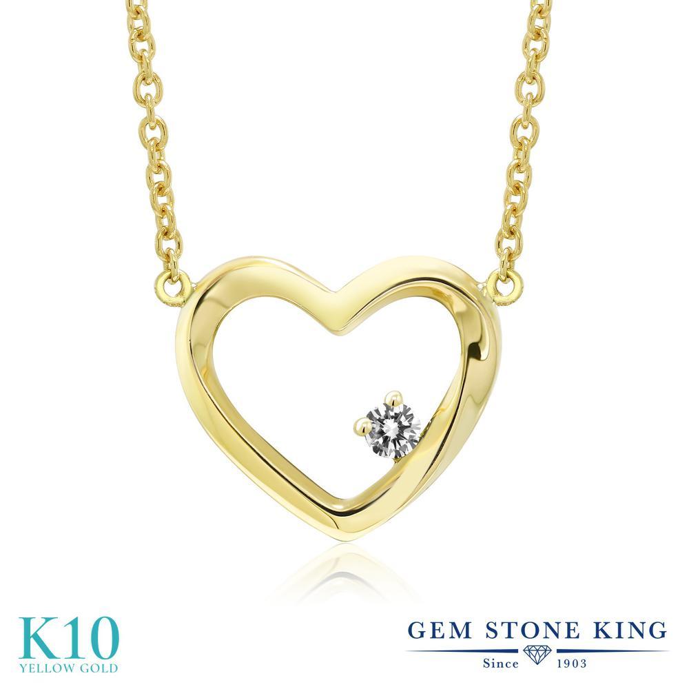Gem Stone King 0.03カラット 天然 ダイヤモンド 10金 イエローゴールド(K10) ネックレス レディース ダイヤ 小粒 一粒 シンプル 天然石 4月 誕生石 金属アレルギー対応 誕生日プレゼント