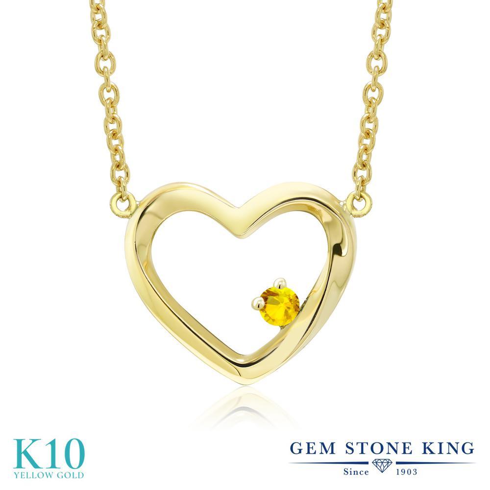 Gem Stone King 0.05カラット イエローサファイア 10金 イエローゴールド(K10) ネックレス レディース 小粒 一粒 シンプル 9月 誕生石 金属アレルギー対応 誕生日プレゼント