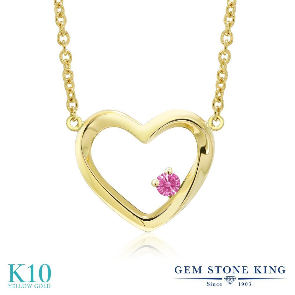Gem Stone King スワロフスキージルコニア (ピンク) 10金 イエローゴールド(K10) ネックレス レディース CZ 小粒 一粒 シンプル 金属アレルギー対応 誕生日プレゼント