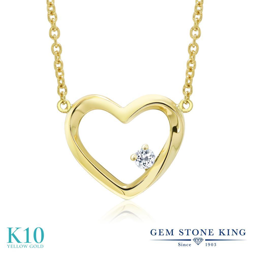 Gem Stone King 0.04カラット 天然 トパーズ (無色透明) 10金 イエローゴールド(K10) ネックレス レディース 小粒 一粒 シンプル 天然石 11月 誕生石 金属アレルギー対応 誕生日プレゼント