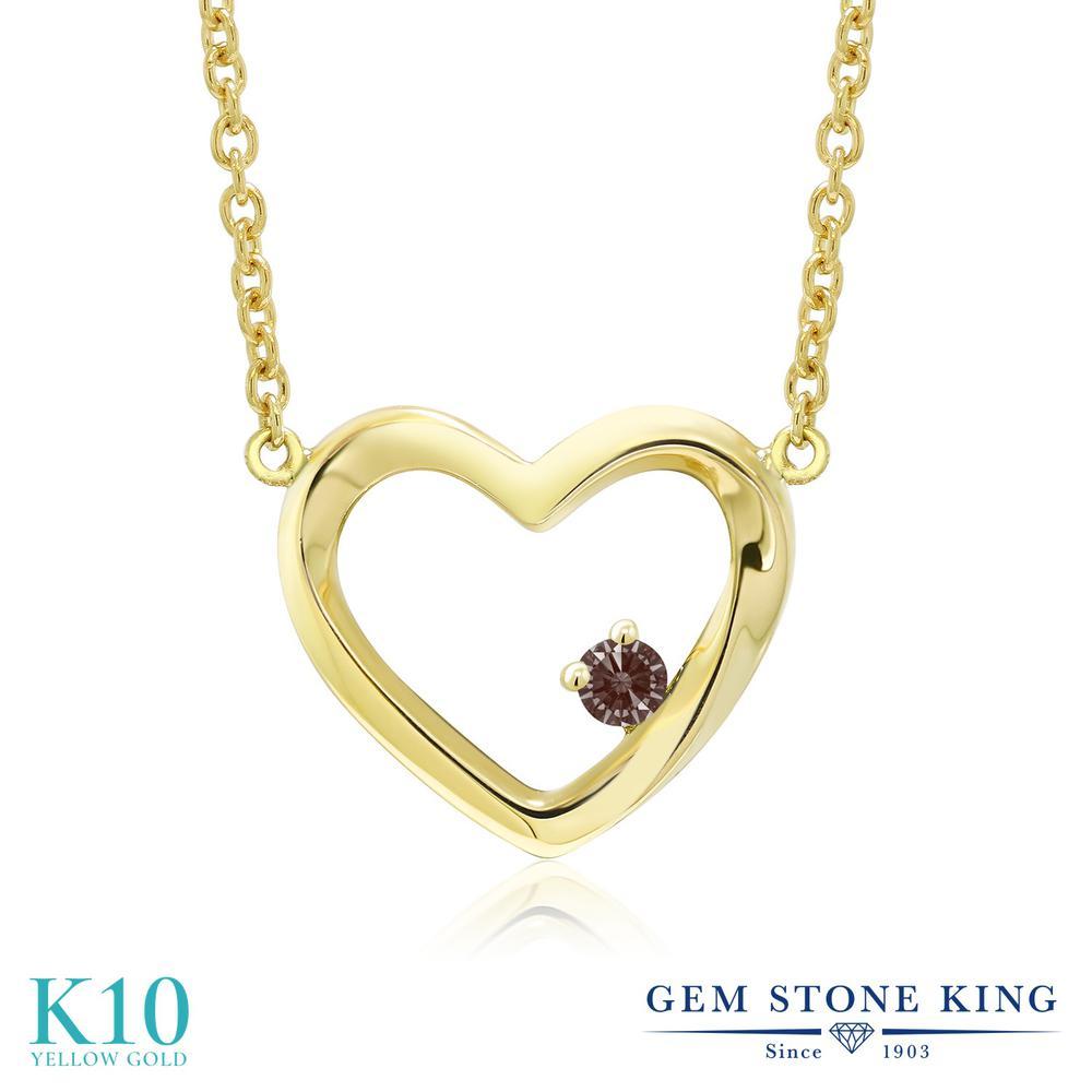 Gem Stone King スワロフスキージルコニア (ファンシーブラウン) 10金 イエローゴールド(K10) ネックレス レディース CZ 小粒 一粒 シンプル 金属アレルギー対応 誕生日プレゼント