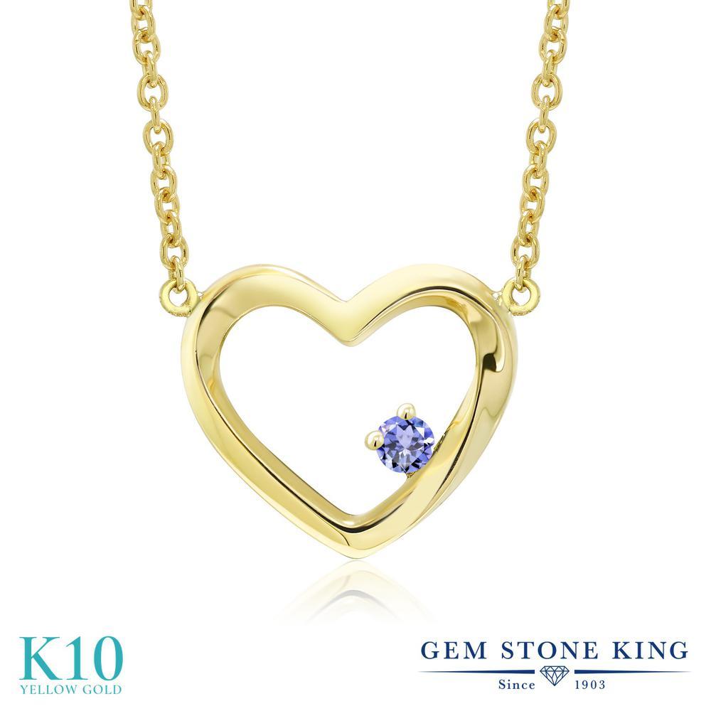 Gem Stone King 0.04カラット 天然石 タンザナイト 10金 イエローゴールド(K10) ネックレス レディース 小粒 一粒 シンプル 天然石 12月 誕生石 金属アレルギー対応 誕生日プレゼント