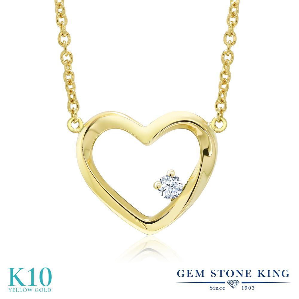 Gem Stone King 0.04カラット 合成ホワイトサファイア (ダイヤのような無色透明) 10金 イエローゴールド(K10) ネックレス レディース 小粒 一粒 シンプル 金属アレルギー対応 誕生日プレゼント