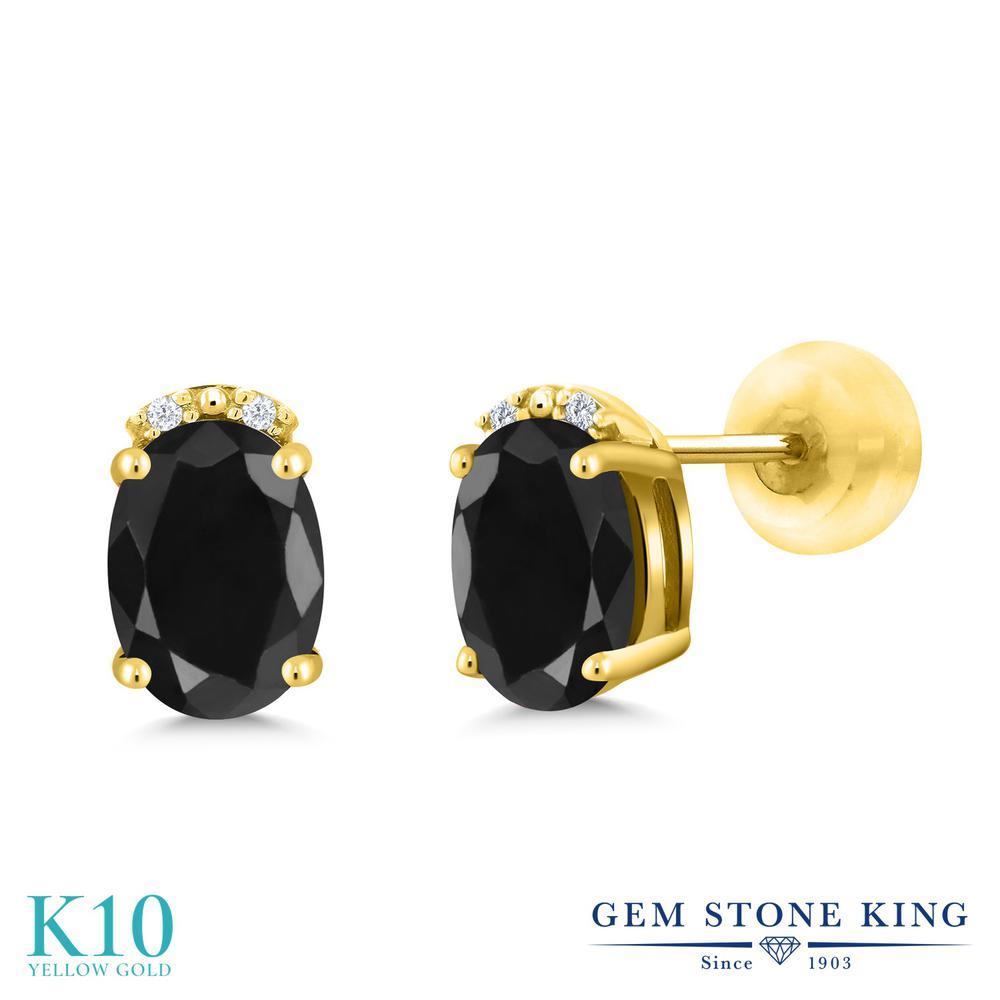 Gem Stone King 2.17カラット 天然サファイア(ブラック) 10金 イエローゴールド(K10) 天然ダイヤモンド ピアス レディース 大粒 スタッド 天然石 誕生石 金属アレルギー対応 誕生日プレゼント