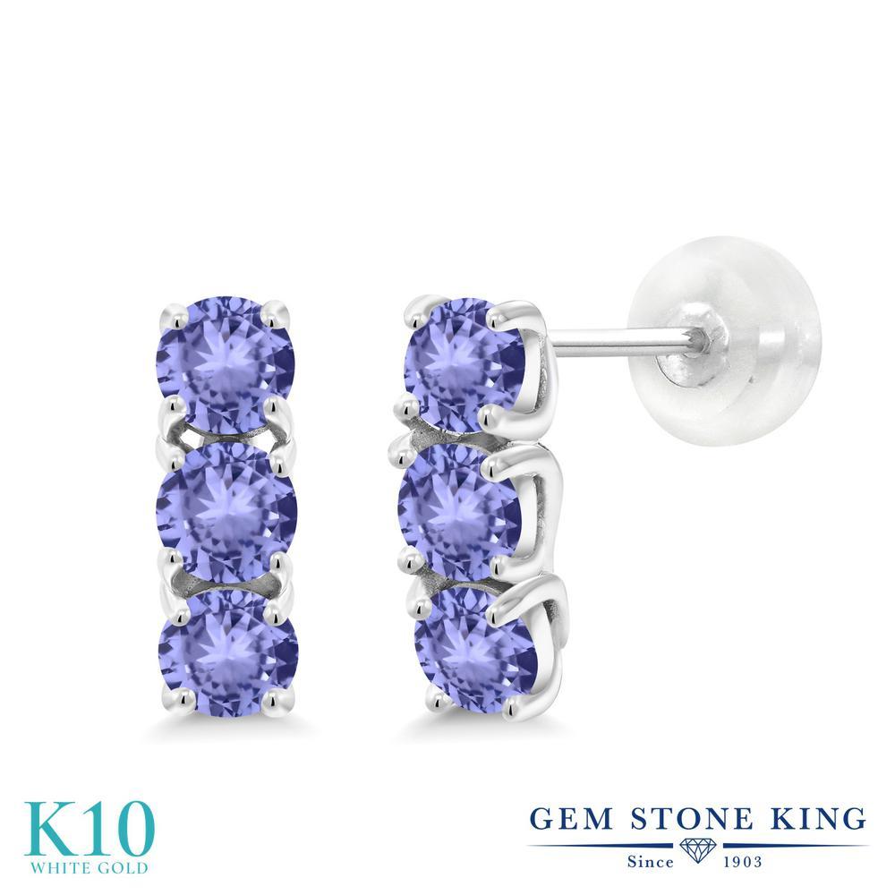Gem Stone King 1.08カラット 天然石 タンザナイト 10金 ホワイトゴールド(K10) ピアス レディース 小粒 スタッド 華奢 細身 天然石 12月 誕生石 金属アレルギー対応 誕生日プレゼント