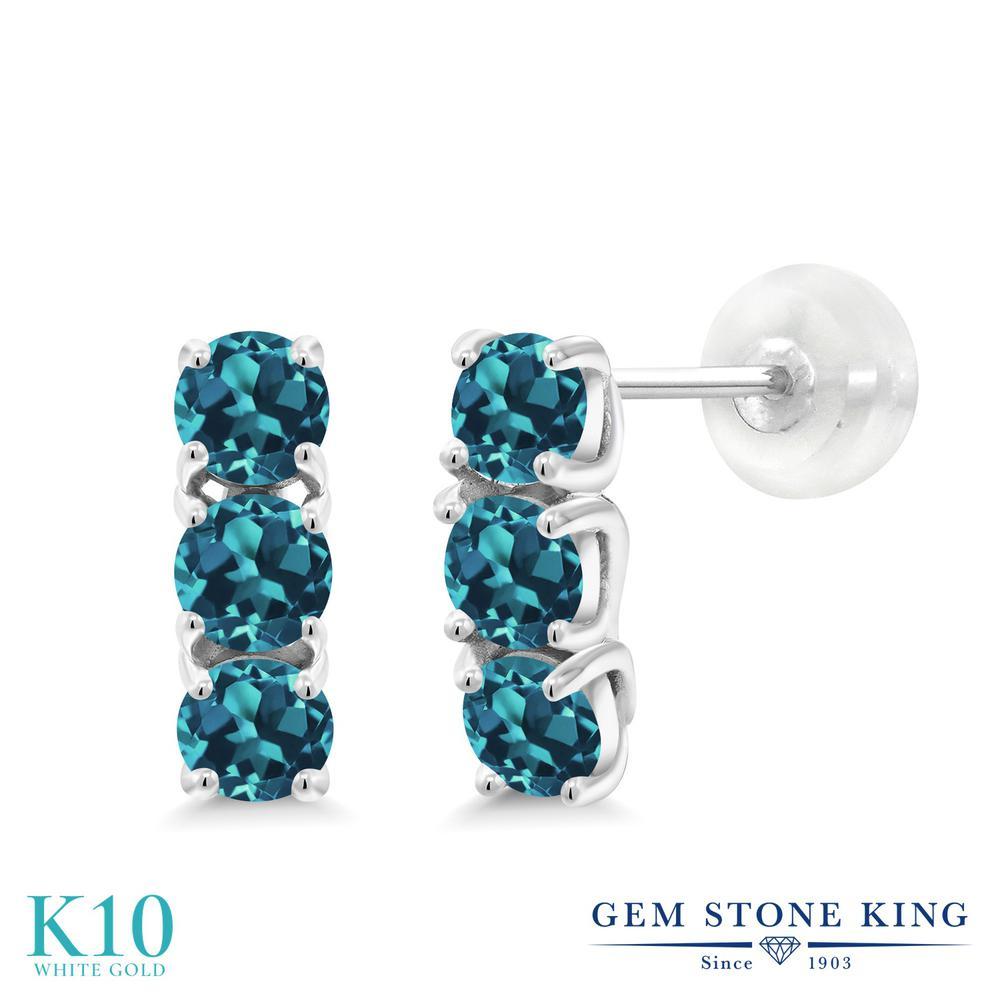 Gem Stone King 1.2カラット 天然 ロンドンブルートパーズ 10金 ホワイトゴールド(K10) ピアス レディース 小粒 スタッド 華奢 細身 天然石 11月 誕生石 金属アレルギー対応 誕生日プレゼント