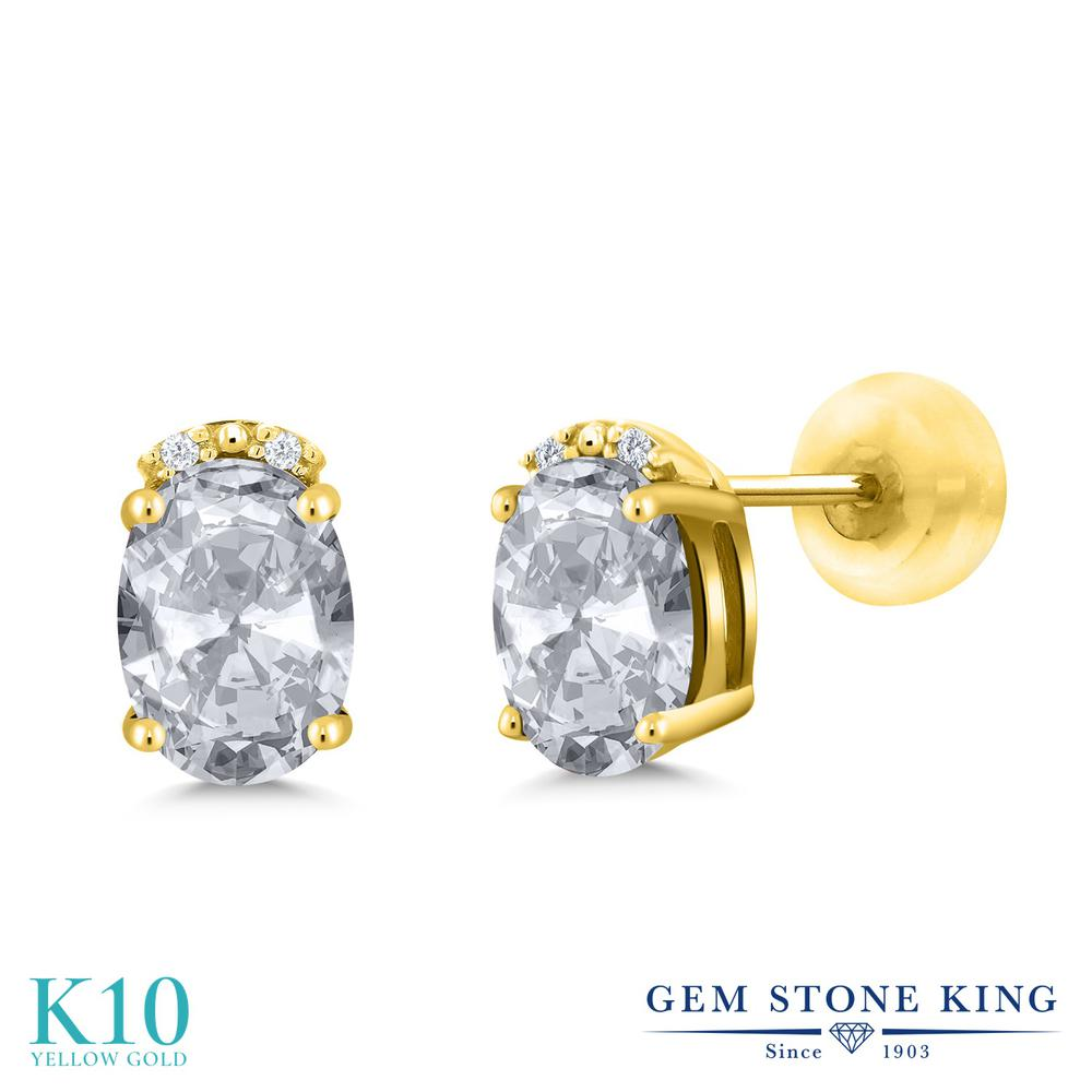 Gem Stone King 1.93カラット 天然トパーズ(無色透明) 10金 イエローゴールド(K10) 天然ダイヤモンド ピアス レディース スタッド 天然石 誕生石 金属アレルギー対応 誕生日プレゼント
